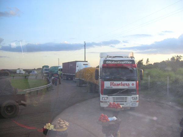 Trucks waiting to be cleared at Kapri Mposhi Township weigh bridge in Central Province