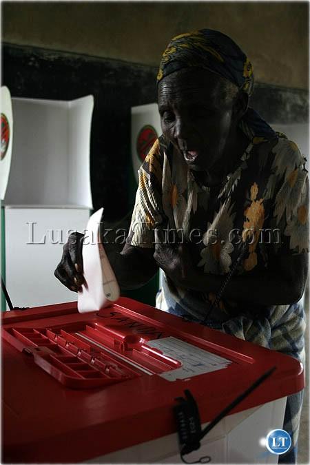File: 75-year old Besinati Zulu casting her vote