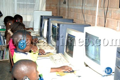 Pupils learn how to use the computers at elementary level at Macha Christian School in Choma