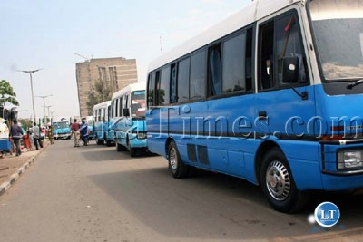 Mini buses are operating out side the Kulima Tower station which is under renovation.