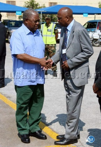 President Banda with Secretary to the cabinet Joshua Kanganja before he left for Livingstone to open the Zimba road