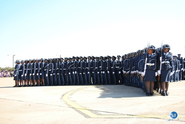 GRADUATING Officer cadets on March Pas and Qucik Time parade forming an arch round the Presidential dias
