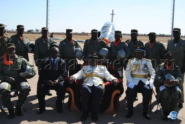 PRESIDENT Banda posses with ZAF pilots