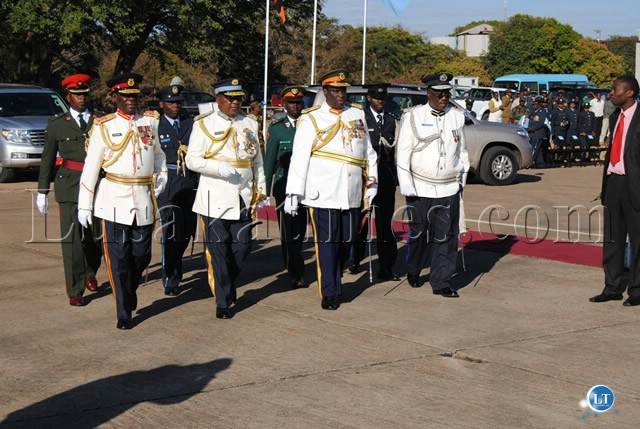 SERVICE Chiefs arrive for the Zambia Air Force Commissioning Parade at ZAF Livingstone Air Base
