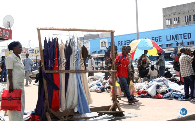 Vendors sale second hand clothes in the Central Business District of Lusaka.