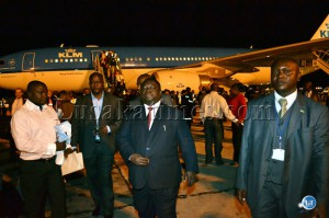 Transport, Works, Supply and Communications Minister Yamfwa Mukanga  after the arrival aboard the first Royal Dutch airline KLM flight between Amsterdam and Lusaka at Kenneth Kaunda International Airport.