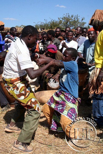 Dancers entertain guests at the Ntongo traditional ceremony in Mufumbwe at the weekend