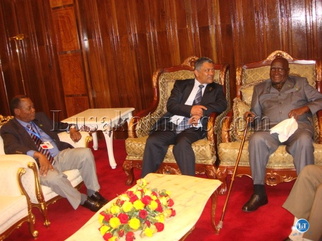 Dr Kaunda (r), Foreign Affairs Minister Given Lubinda (c) and Zambians Ambassador to ethiopia Francis Simenda before attending the African Union Summit in Addis Ababa