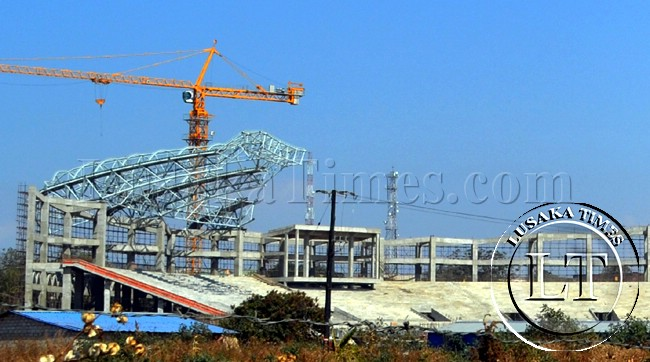 The Lusaka stadium being erected along the great north road has shaped up. Here, the structure being worked on by Chinese contractors