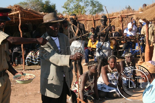 Village Headmen, Vitumba mfumu performs a ritual at the Ntongo traditional ceremony in Mufumbwe over the weekend.