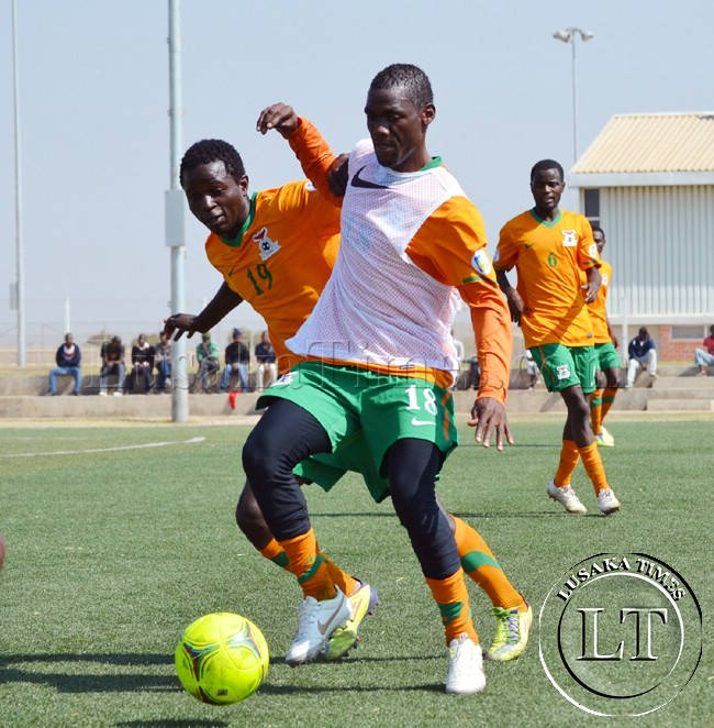 Zambia National Soccer team players in training at the Olympic Youth Development Centre in Lusaka