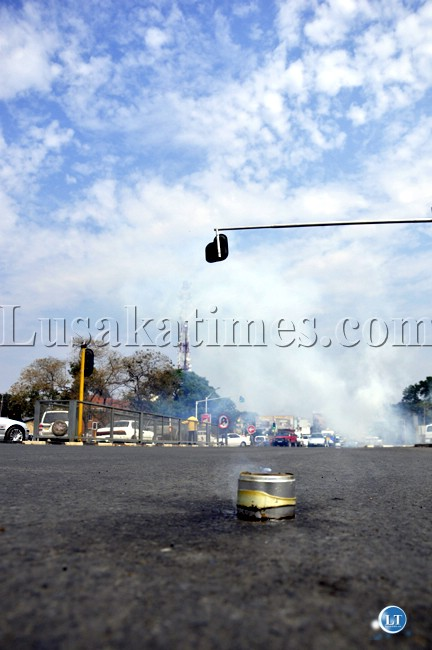 A teargas canister along Church road