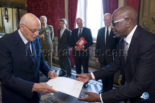 FILE: Ambassordor  Frank Mutubila  presents his  credentials to the President of Italy Giogio Napolitano