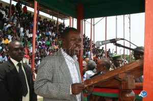 PF secretary general/ Justice minister winter kabimba delevering his speech during the independencs celebrations theme hard work and unite in mongu yesterday