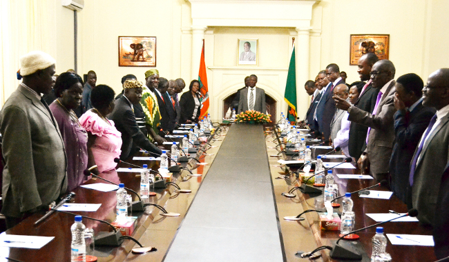 President Michael Sata meets with traditional leaders at State House