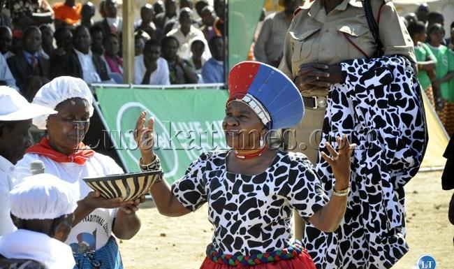 Chieftainess Nkomeshya prays for rains during the Chakwela Makumbi traditional ceremony