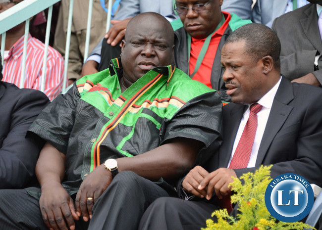 Minister of Sport and Youth Chishimba Kambwili and Justice Minister Wynter Kabimba