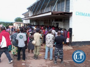 People in a queue for mealie meal in Chililabombwe this week