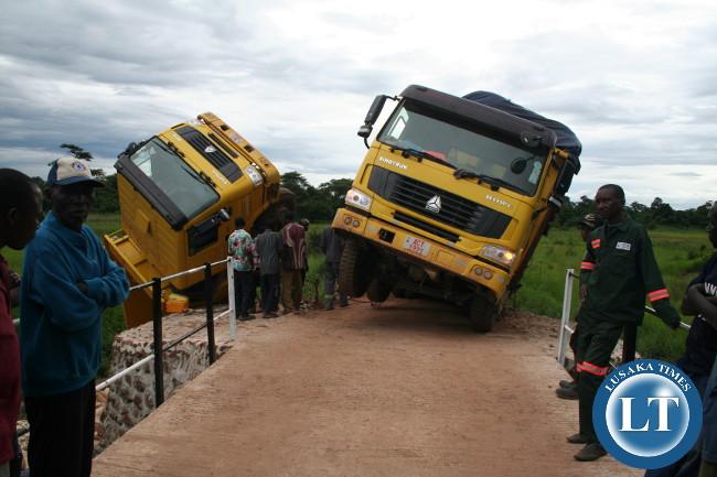 Two sino trucks belonging to Radikal Business Solutions of Kitwe