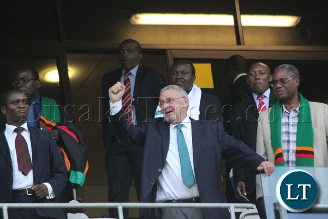 Vice President Guy Scott with some cabinet Ministers cheering the Zambia squard on during Zambia Vs Burkina Faso match