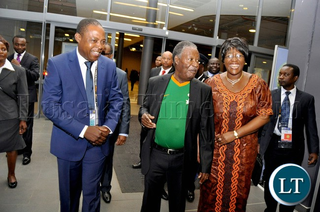 President Sata with First Lady Dr Christine Kaseba and Zambia's High Commissioner to South Africa Muyeba Chikonde leaves Hyatt Hotel in South Africa for the official opening of AFCON in SOuth Africa