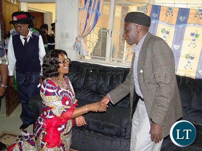 SENIOR Chief Mwamba (right) welcomes Tourism Minister Sylvia Masebo at his palace in Kasama
