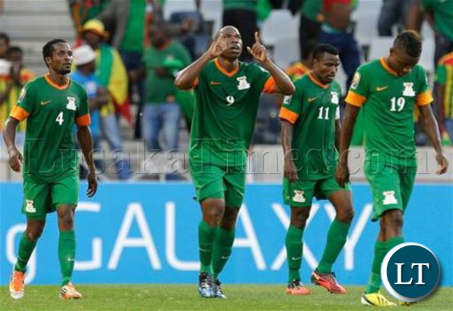 Collins Mbesuma celebrates Zambia's only goal at AFCON from open play
