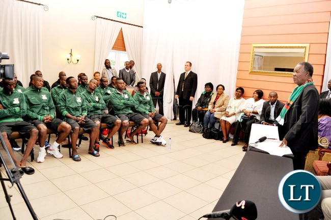 President Sata  addresses Zambia National Team players  at Protea Hotel Nelspruit in South Africa