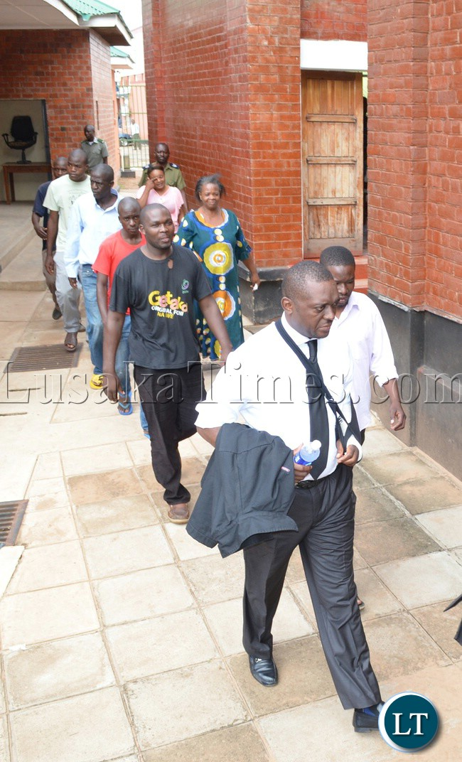 Mazabuka MP Gary Nkombo leads other UPND cadres to appear in Livingstone Magistrate Court