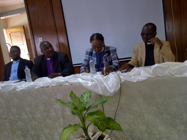 Leaders of Church Mother Bodies addressing a media briefing at Kapingila House today