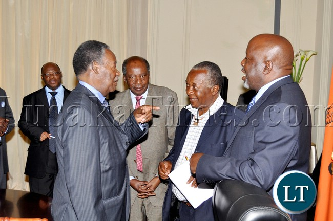 President Sata with Chief Luchembe (r), Chief Mukwikile (second from right) , Finance minister Alexander Chikwanda and Chief Munkonge at State House after a closed door meeting with Chiefs from Muchinga Province -Picture by THOMAS NSAMA