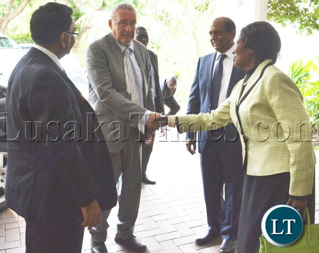 VICE President Guy Scott being welcomed by Gender and Child Development Minister Inonge Wina, Indian High Commissioner to Zambia Ashok Kumar (left) and Indian Business Council of Zambia (IBCZ) chairperson Ayyub Nagarseth (far right) before an BCZ luncheon in Lusaka