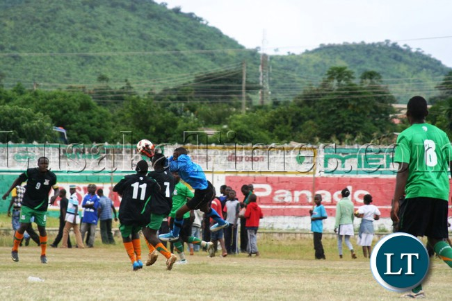 KAMZECHE Lupiya, jumps to catch a ball during the talent identification football tournament organised by the Football Association of Zambia (FAZ) at David Kaunda Stadium in Chipata