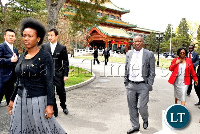 President Sata leaves Diayutai State Guest House in Beijing during his departure to Sanya in China on April 5,2013-Picture by THOMAS NSAMA