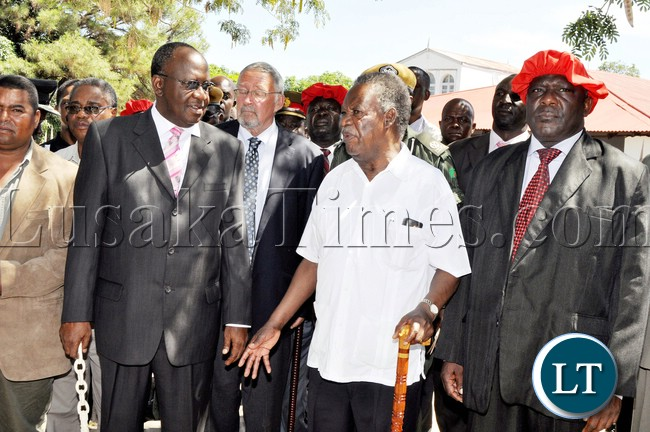 President Sata  with the Litunga at Limulunga palace in Mongu where he  paid a courtesy call on him in Western province on April 14,2013-Picture by THOMAS NSAMA