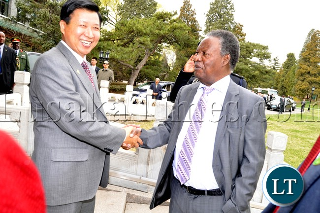 President Sata with Chinese Ambassador to Zambia Zhou Yuxiao at Diayutai State Guest House in Beijing shortly before Departure to Sanya in China on April 5,2013-Picture by THOMAS NSAMA