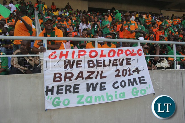 Chipolopolo fans giving their support