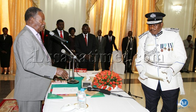 President Sata swearing in Malcolm Mutale at Statehouse