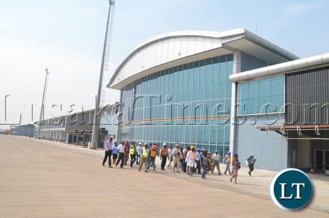 A newly constructed terminal building at Harry Mwaanga Nkumbula International Airoport in Livingstone in readiness for UNWTO conference