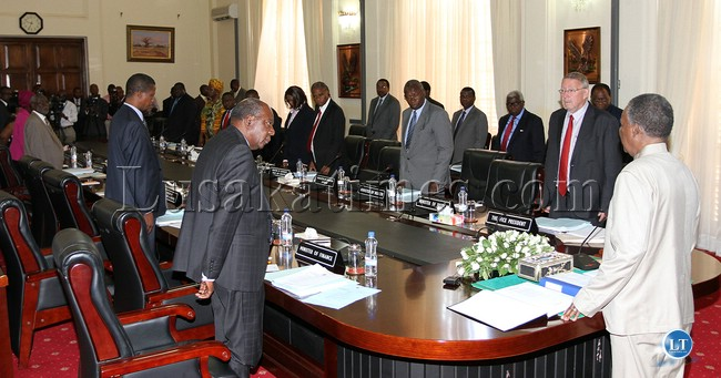 File:President Sata addresses a Cabinet meeting  2013