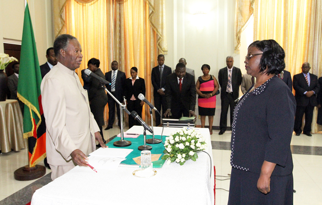 President Sata swearing Ms Getrude kasuba Mwape as Ambasador to China