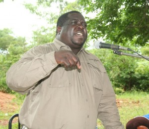 MINISTER of Youth and Sport, Chishimba Kambwili, addresses a developmental meeting at Kawawa Primary school in Kasenengwa constituency in Chipata on Wednesday