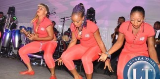 Koffi Olomide's dancing queens during the wedding ceremony of Bona Mugabe, Daughter to Robert Mugabe , President of the Republic of Zimbabwe and Simba at President Mugabe's private residence in Harare, Zimbabwe on March 1,2014 -Picture by THOMAS NSAMA