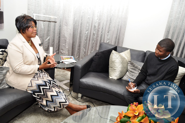 First Lady Dr Christine Kaseba during an Interview shortly before her departure from London on April 14,2014 . Dr Kaseba was in the United Kingdom where she addressed the skoll World Forum on Social Entrepenuership at Oxford Unversity -Picture by THOMAS NSAMA