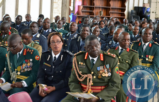Defence personnel at the church service to commemorate the 90th birthday of First Republican President Kenneth Kaunda at the Cathedral of the Holy Cross in Lusaka