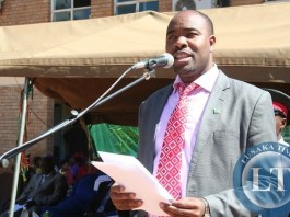 EASTERN Province Minister, Malozo Sichone, speaking when he officiated at a ceremony to commission a bore hole at Chipata General Hospital in Chipata