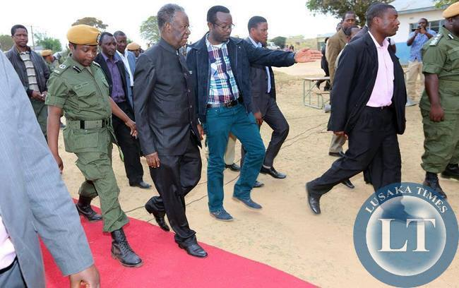 President Michael Sata with his Special Assistant for Press and Public Relations George Chellah in Mkushi.