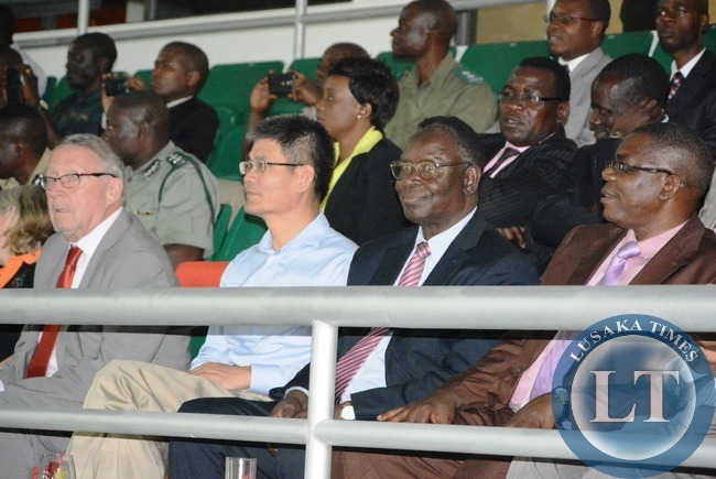 -(From left to right) Vice president Dr. Guy Scott, Chinese to Zambia Yang Youming, Health Minister Joseph Kasonde, and Sports Deputy Minister Christopher Mulenga at the National Heroes Stadium during the mass display of performance in preparation of Golden Jubilee celebration