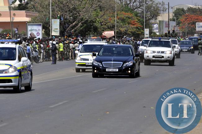 President Edgar Lungu's motorcade