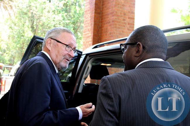 Acting President Dr Guy Scott  shortly after  a Cabinet meeting at State House on October 29,2014 -Picture by THOMAS NSAMA